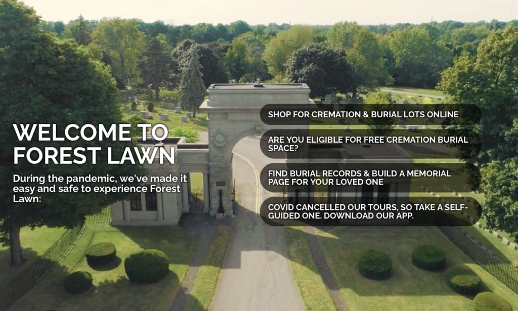 Main page for the Forest Lawn Cemetery Website.